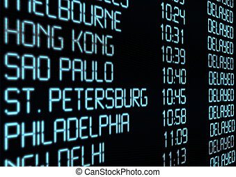 Departure Timetable - Delay - Closeup of Departure Timetable...