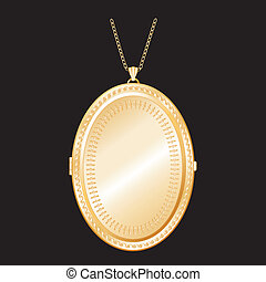Vintage Engraved Gold Locket, Chain - Vintage oval gold...