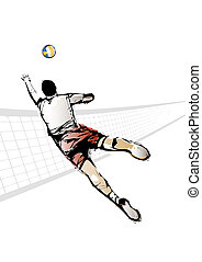 volleyball player - illustration of volleyball player
