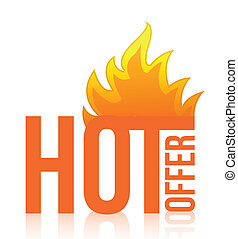 hot offer fire illustration design over white