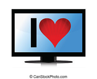 TV set with Heart illustration