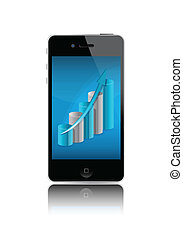 Smartphone with chart illustration design over white