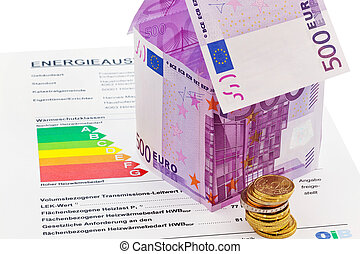 house from euro; banknotes and energy performance...