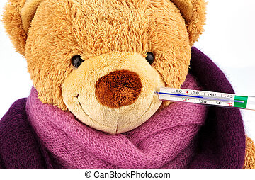 teddy bear with thermometer - a plush bear with a...
