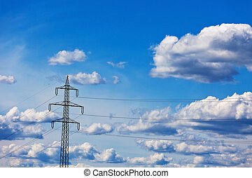 power line - poles of a current high-voltage line power line...