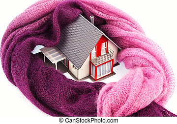 house with a scarf. photo icon insulation - a model house is...