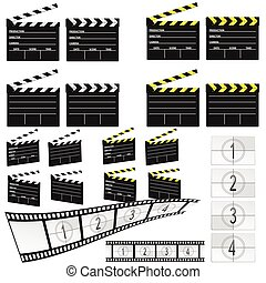 movie clapper white and yellow illustration and film