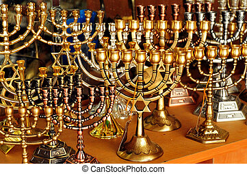 Jewish Holidays Hanukkah - Menorah for sale in shop in the...