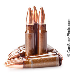 ammunition - scratched ammunition for AK-47 on a white...