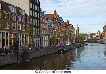 canals of Amsterdam, Netherlands - Amsterdam innercity with...