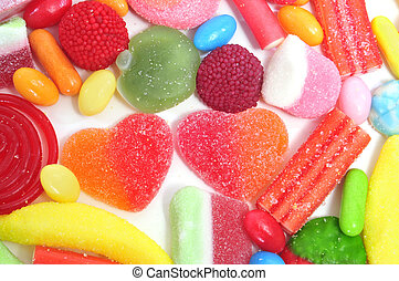 candies - closeup of a pile of candies with different shapes...