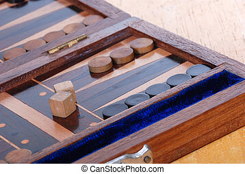 backgammon game board - Wooden Backgammon boardgame with...