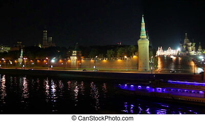 Moscow Kremlin river night landscape with ship
