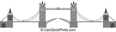 London Tower Bridge Illustration Isolated on White...
