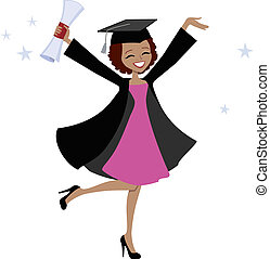 Graduate African American Woman - Illustration of woman in...