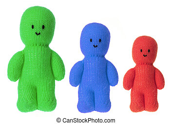 Soft Toy Dolls on White Background