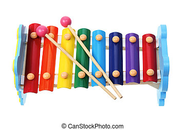 Toy Xylophone on White Background
