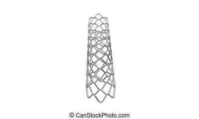 Stent rotates on white background