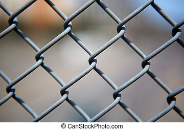 Chain link fence up close - Narrow Dept of Field close up...