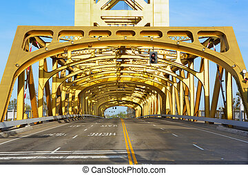 Sacramento Golden Tower Bridge from front looking through