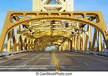 Sacramento, złoty, wieża, Most