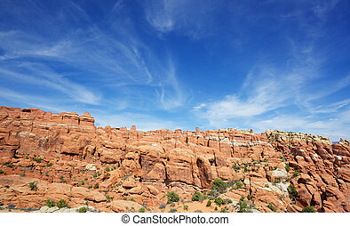 Wispy skys over Utah - Arches Park near hells kitchen with...