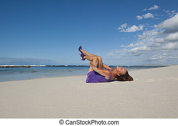 Sexy mature woman beach holiday - Sexy mature woman in...