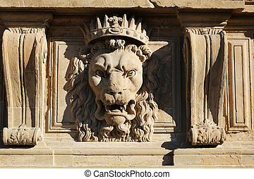Lion Facade Palazzo Pitti Florence - a lion relief at the...