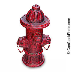 The Old red hydrant for fire fighting isolated on white background