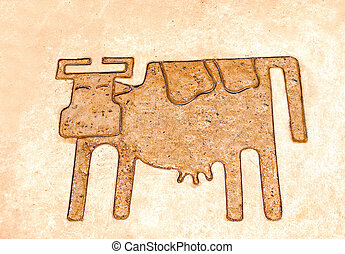 The Iron pattern line of cow on cement floor