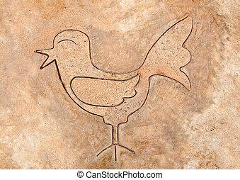 The Iron pattern line of bird on cement floor