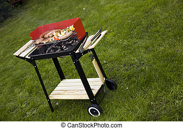 Grilling meat in flames!