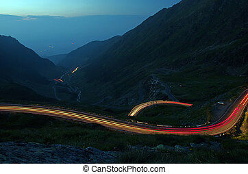 Night curvy road in the mountains, Romania