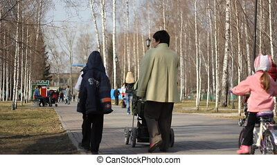 Peoples walking in a city park