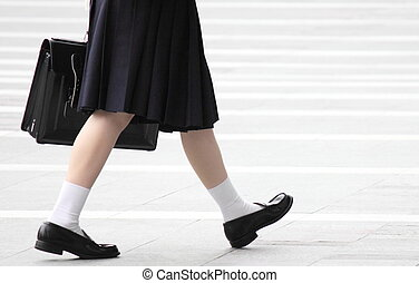 High school girl was walking - I took photographs of the...