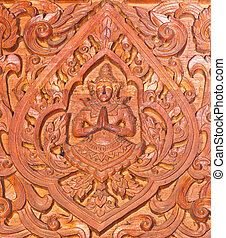 Old wooden carving in Thai style