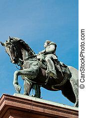estátua, rei, Carl, Johan