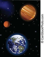 Earth with Mars and Jupiter - Vector Illustration Of Earth...
