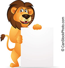 Lion cartoon with blank sign - Vector Illustration Of Lion...