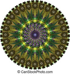 mandala created from fractals, computer graphics