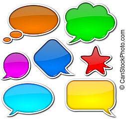 Comic speech bubbles set - Glossy, colorful, empty and blank...