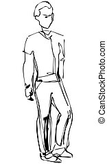sketch of standing fellow full length - a sketch of standing...