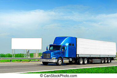 2 industries - cargo truck and road billboard