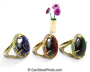 ruby ,emerald and sapphire rings