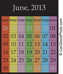 June, 2013 - calendar on specific color backround for each...