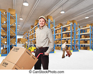 worker in warehouse - delivery man in classic warehouse