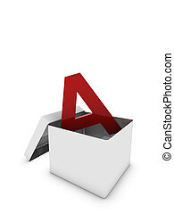 letter a in box