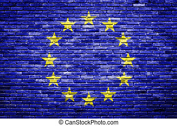 euro flag painted on old brick wall