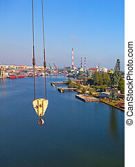 Air view shipyard - Crane hook on the background of the...