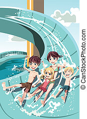 Kids playing in water slides - A vector illustration of kids...